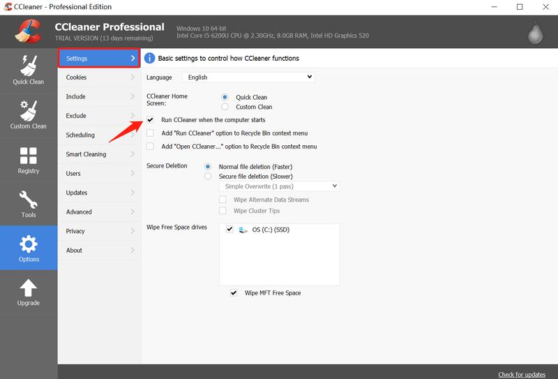 Cómo deshabilitar CCleaner para que no se inicie con Windows